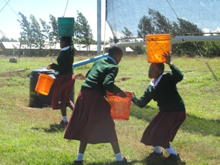 Tanzanian girls fetching fog water